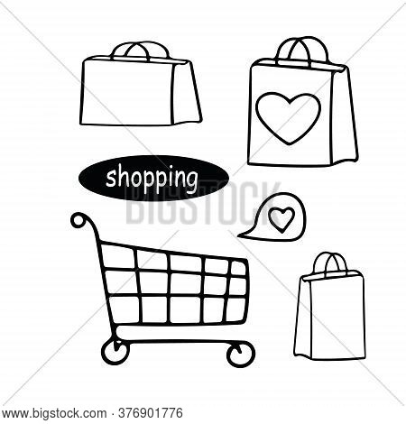 Bags And Shopping Cart Set Hand Drawn In Doodle Style. Elements Scandinavian Monochrome Minimalism S
