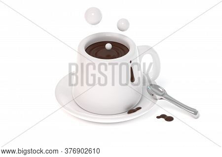 White Cup Of Coffee 3d Render Illustration