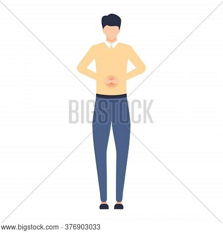 Unhappy Man Feel Pain In The Stomach. Sad Young Employee With Belly Disorder Problem Vector Isolated