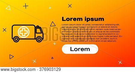 Line Ambulance And Emergency Car Icon Isolated On Yellow Background. Ambulance Vehicle Medical Evacu