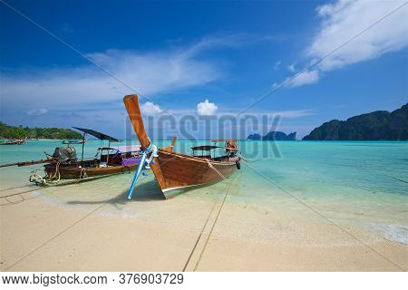 The Picture Was Taken On A Wide Angle Lens, A Panoramic View Of Fishing Boats And The Beach Of Phi P