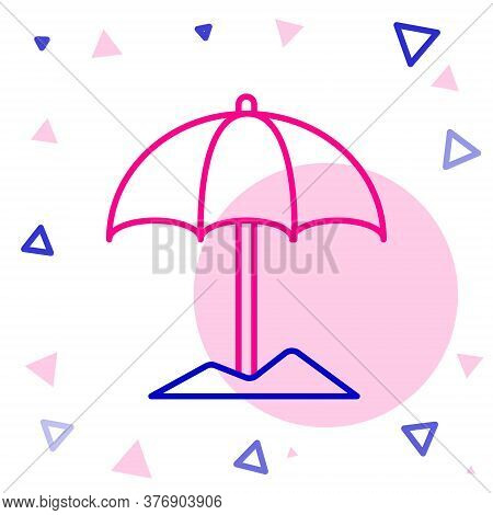 Line Sun Protective Umbrella For Beach Icon Isolated On White Background. Large Parasol For Outdoor