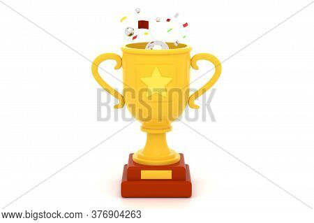 Golden Cup With Glitter 3d Render Illustration