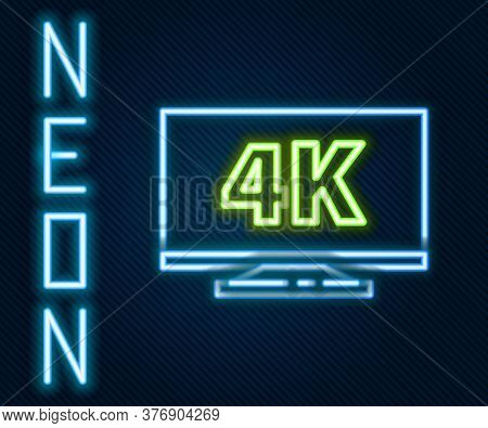 Glowing Neon Line Screen Tv With 4k Ultra Hd Video Technology Icon Isolated On Black Background. Col
