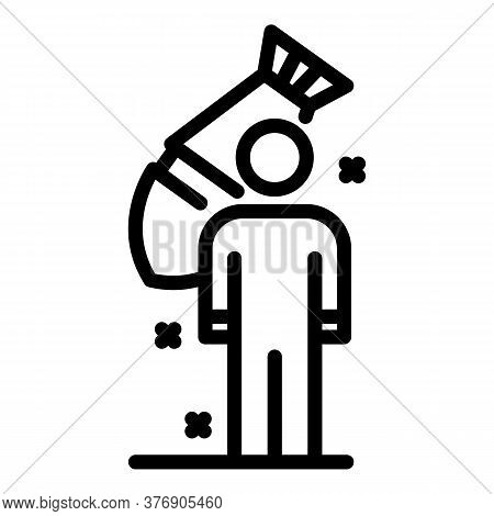 Immigrant Under Bomb Attack Icon. Outline Immigrant Under Bomb Attack Vector Icon For Web Design Iso