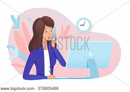Young Woman Secretary Answering Call. Professional Specialist Talking Phone Sit At Table Front Of Co