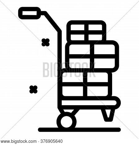 Immigrants Bags Cart Icon. Outline Immigrants Bags Cart Vector Icon For Web Design Isolated On White