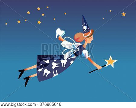 Teeth Fairy Fantastic Character Flying In Night Starry Sky. Fantasy Folklore Dental Elf Figure With