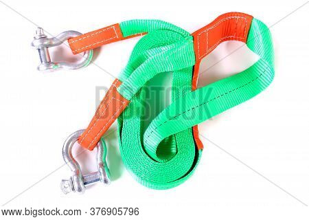 Kinetic Snatch Rope With Two Shackles Isolated Over White Background