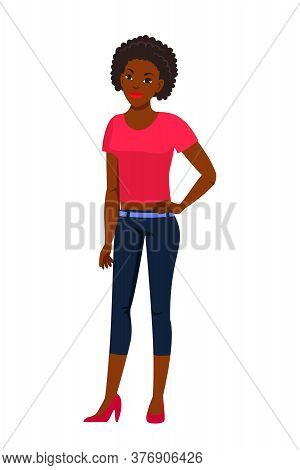 Afro-american Woman With Short Curly Hair Wearing Trendy Outfit Standing Isolated On White Backgroun
