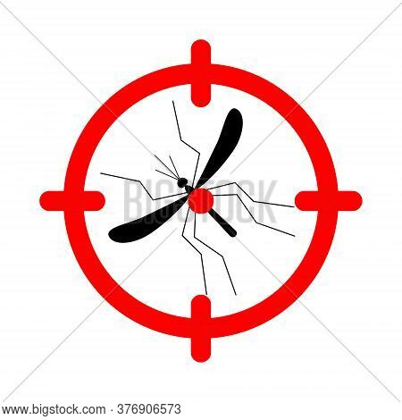 Target On Mosquito Vector Illustration. Mosquitoes Stop Sign Vector Illustration Isolated On White.