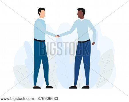 Handshake Of Two Multicultural Business Men. Agreement American Partnership Concept. Vector Illustra