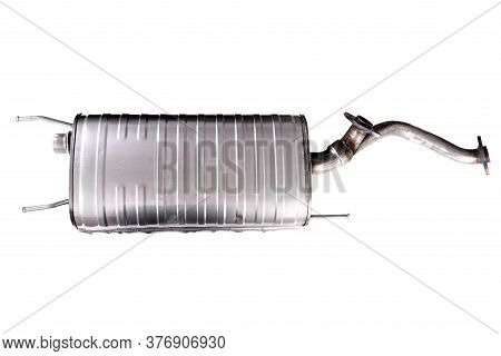 Car Exhaust Muffler Isolated Over White Background