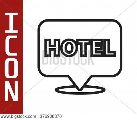 Black Line Location Hotel Icon Isolated On White Background. Concept Symbol For Hotel, Hostel, Trave