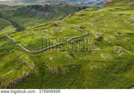 Aerial Of Hardknott Roman Fort Is An Archeological Site, The Remains Of The Roman Fort Mediobogdum,