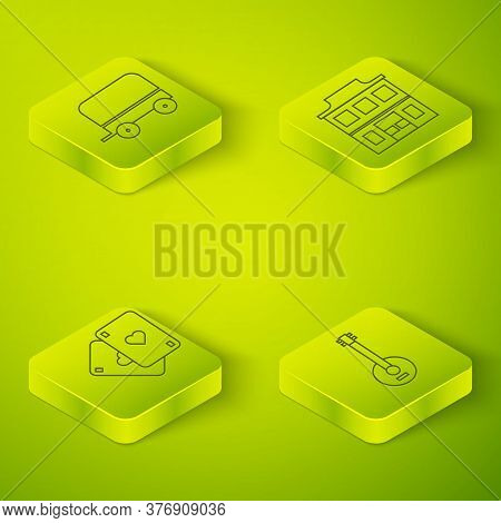 Set Isometric Wild West Saloon, Playing Cards, Banjo And Wild West Covered Wagon Icon. Vector