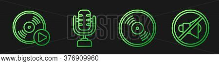 Set Line Vinyl Disk, Vinyl Disk, Microphone And Speaker Mute. Gradient Color Icons. Vector
