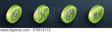 Set Isometric Stereo Speaker, Drum Sticks, Speaker Mute And Music Synthesizer Icon. Vector