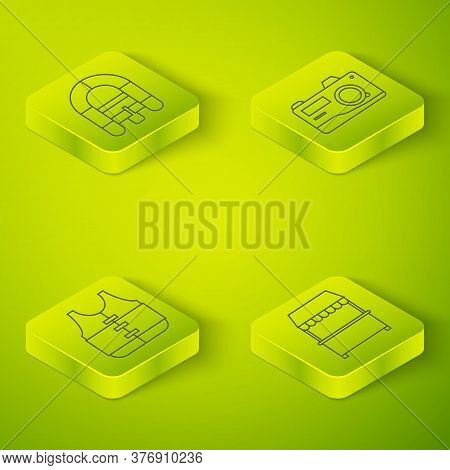 Set Isometric Photo Camera, Life Jacket, Street Stall With Awning And Rafting Boat Icon. Vector