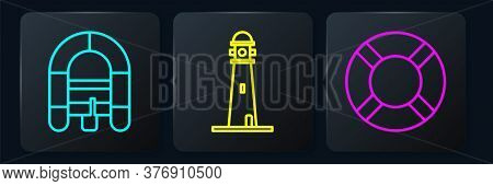Set Line Rafting Boat, Lifebuoy And Lighthouse. Black Square Button. Vector