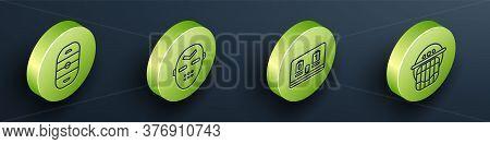 Set Isometric Ice Hockey Rink, Hockey Mask, Hockey Mechanical Scoreboard And Hockey Helmet Icon. Vec
