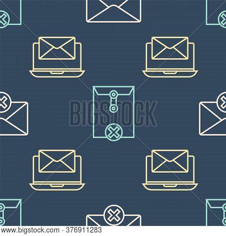 Set Line Delete Envelope, Laptop With Envelope And Delete Envelope On Seamless Pattern. Vector