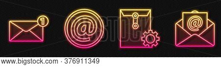 Set Line Envelope Setting, Envelope, Mail And E-mail And Mail And E-mail. Glowing Neon Icon. Vector