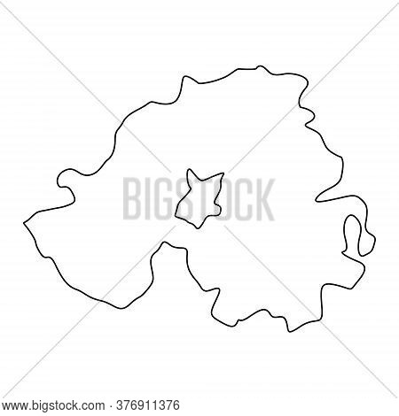 Northern Ireland Line Map Contour Vector Isolated On White.