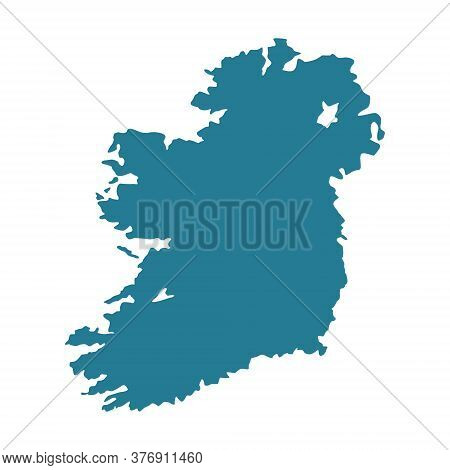 Ireland Map Vector Illustration Isolated On White. Ireland Blue Contour.