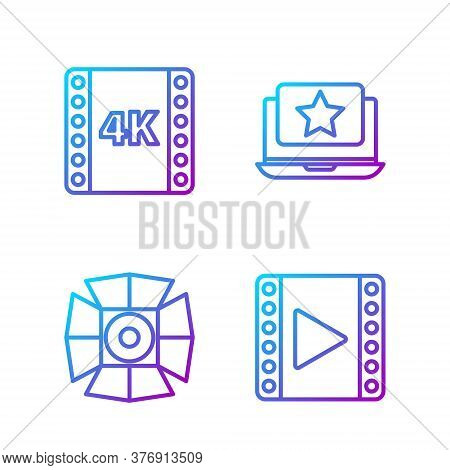 Set Line Play Video, Movie Spotlight, 4k Movie, Tape, Frame And Laptop With Star. Gradient Color Ico