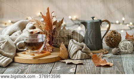 Cozy Autumn Still Life In A Homely Atmosphere.