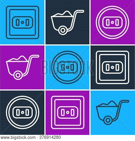 Set Line Electrical Outlet, Electrical Outlet And Shovel Icon. Vector