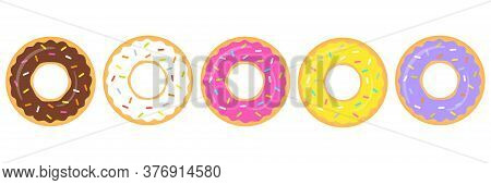 Donuts Colorful Vector Set Isolated On White Background. Sweet Donuts Collection. Cartoon Dessert Il
