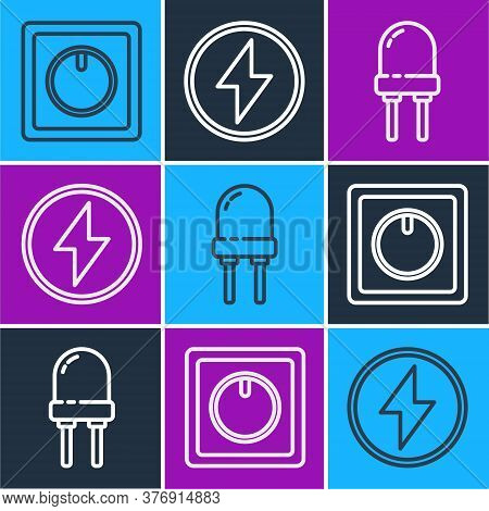 Set Line Electric Light Switch, Light Emitting Diode And Lightning Bolt Icon. Vector