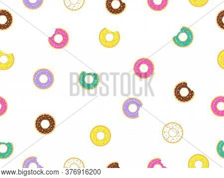 Seamless Pattern Sweet Donuts White Background. Colorful Tasty Donuts Collection Vector Illustration