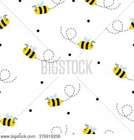 Seamless Pattern With Flying Bees. Vector Cartoon Black And Yellow Bees Isolated On White Background