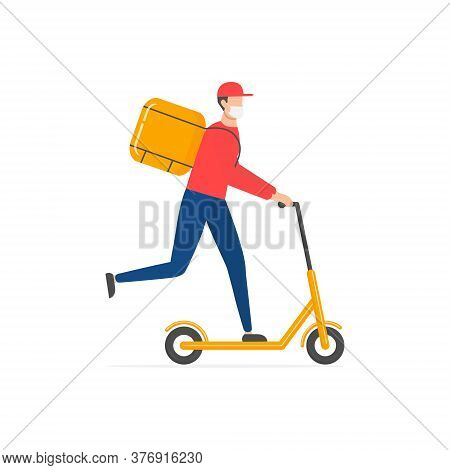 Courier On Scooter With Parcel Box Vector Isolated On White. Courier Wearing In Respiratory Mask To