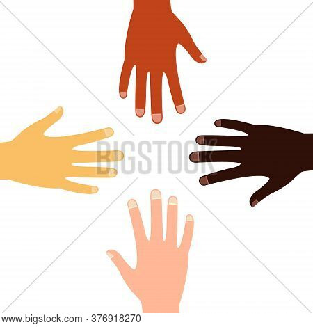 Vector Up Hands, Teamwork Design Over. Colorful Multicultural Hands. Partners Company Friendship In