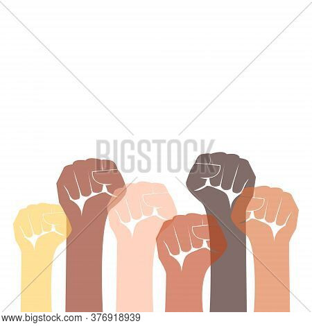 Demonstration, Revolution, Protest Raised Arm Fist With Fight For Your Rights Caption. Arm Silhouett