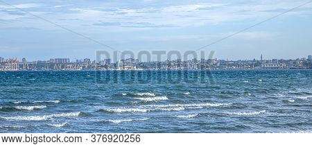 Beautiful Sea With Waves In Windy Weather . Background Of The Sea .