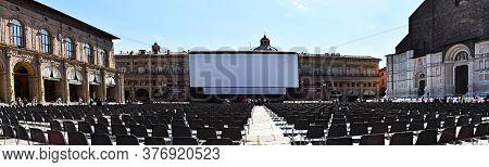 Bologna / Italy - July 18, 2020: Outdoor Cinema, White Projection Screen, (il Cinema Ritrovato Festi