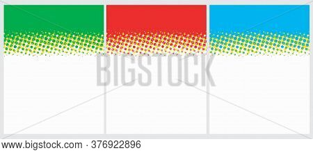 Cute Geometric Vector Layouts. Red, Blue, Gree and Yellow Dots Isolated on a White Background. Dotted Blanks. Simple Abstract Vector Prints Ideal for Layout, Cover.