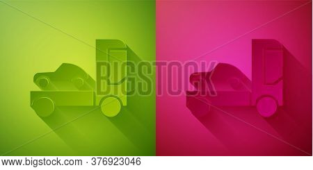Paper Cut Car Transporter Truck For Transportation Of Car Icon Isolated On Green And Pink Background