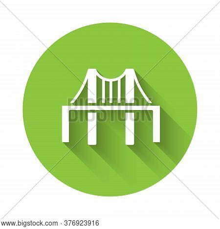 White Golden Gate Bridge Icon Isolated With Long Shadow. San Francisco California United States Of A