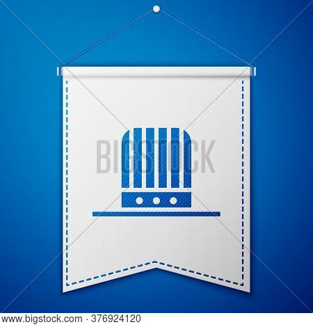 Blue Patriotic American Top Hat Icon Isolated On Blue Background. Uncle Sam Hat. American Hat Indepe