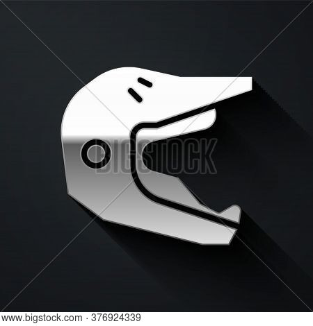 Silver Motocross Motorcycle Helmet Icon Isolated On Black Background. Long Shadow Style. Vector Illu