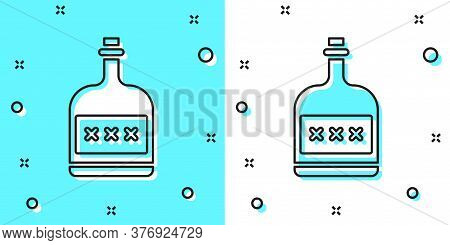 Black Line Alcohol Drink Rum Bottle Icon Isolated On Green And White Background. Random Dynamic Shap