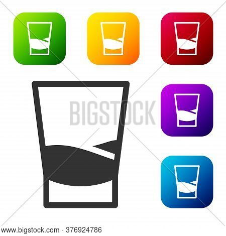Black Glass Of Vodka Icon Isolated On White Background. Set Icons In Color Square Buttons. Vector Il