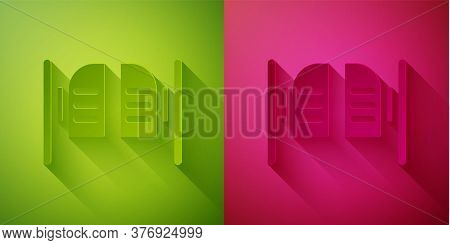 Paper Cut Old Western Swinging Saloon Door Icon Isolated On Green And Pink Background. Paper Art Sty