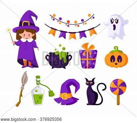 Halloween Cartoon Set - Girl In Halloween Costume Of Witch, Cute Pumpkin, Candy, Scary Creepy Ghost,